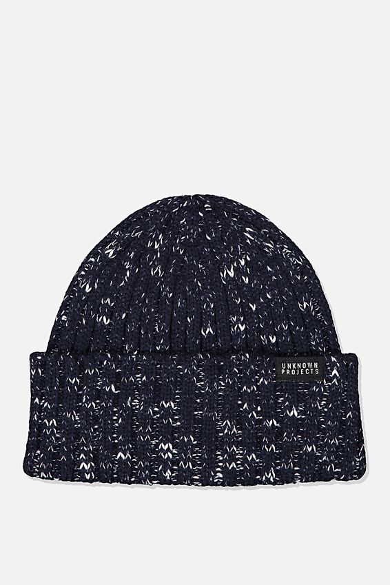 Nordic Beanie, NAVY/WHITE FLECK/UNKNOWN PROJECTS