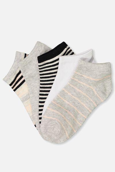 5Pk Ankle Sock, VERIGATED STRIPE