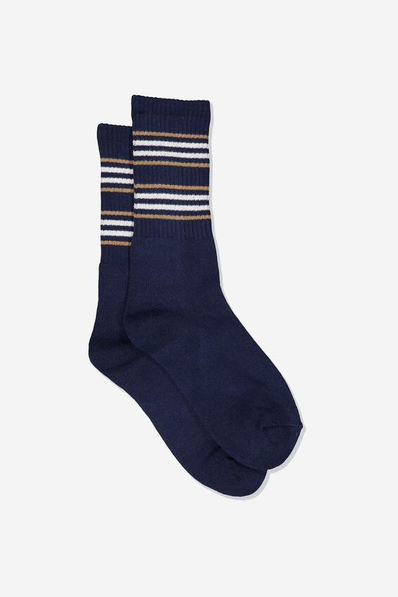 Single Pack Active Socks, NAVY/SAND CUFF STRIPE