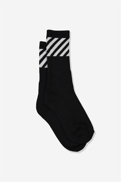 Single Pack Active Socks, BLACK/DIAGONAL STRIPE