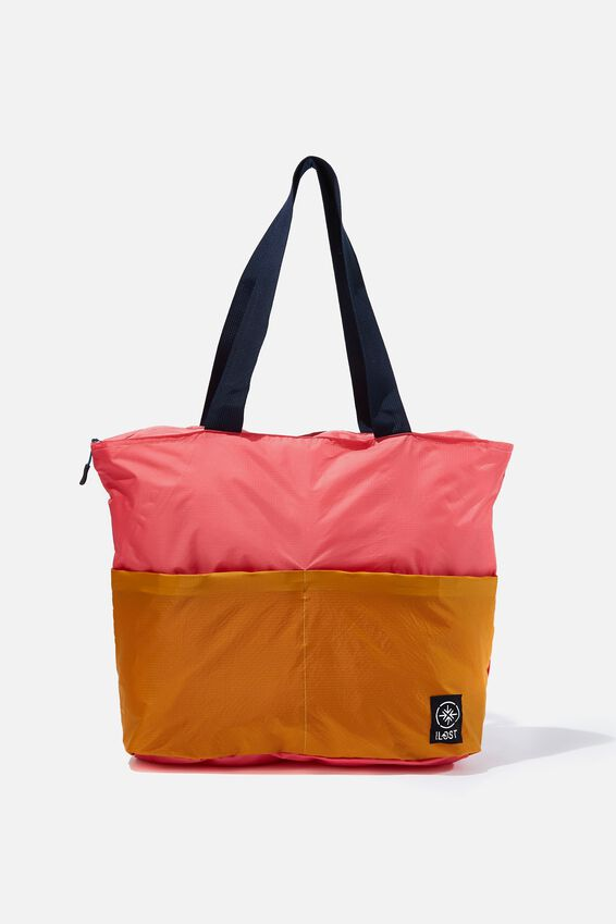Packable Tote, PINK/MUSTARD