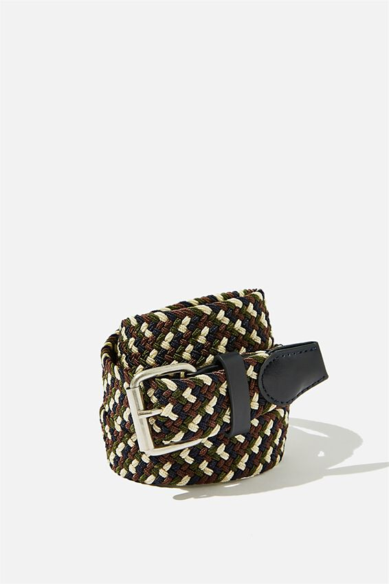 Hampton Plait Belt, NAVY/BROWN/KHAKI/OFF WHITE/BRUSHED SILVER