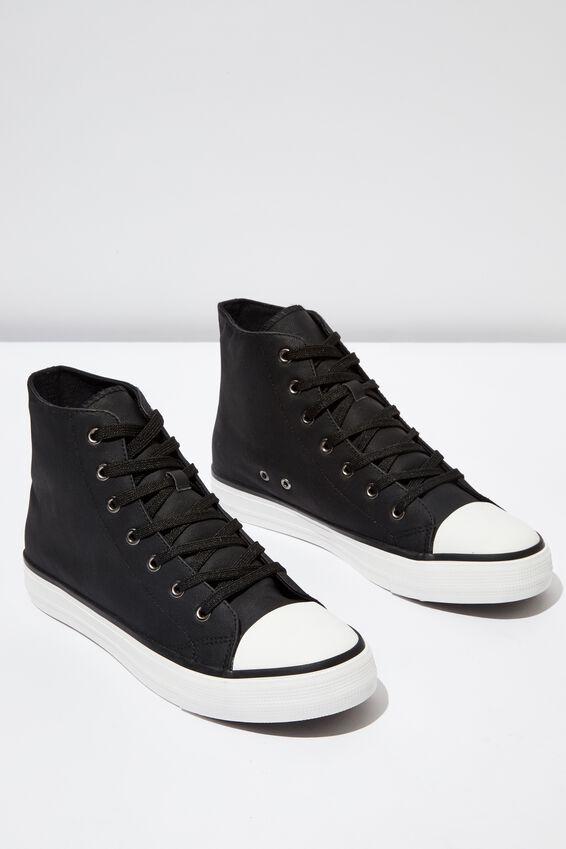 Tyler Hi-Top, BLACK PU/WHITE
