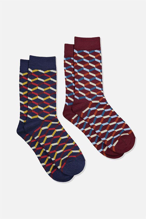 Dress Socks 2 Pack, GEOMETRIC PATTERN/NAVY/MAROON