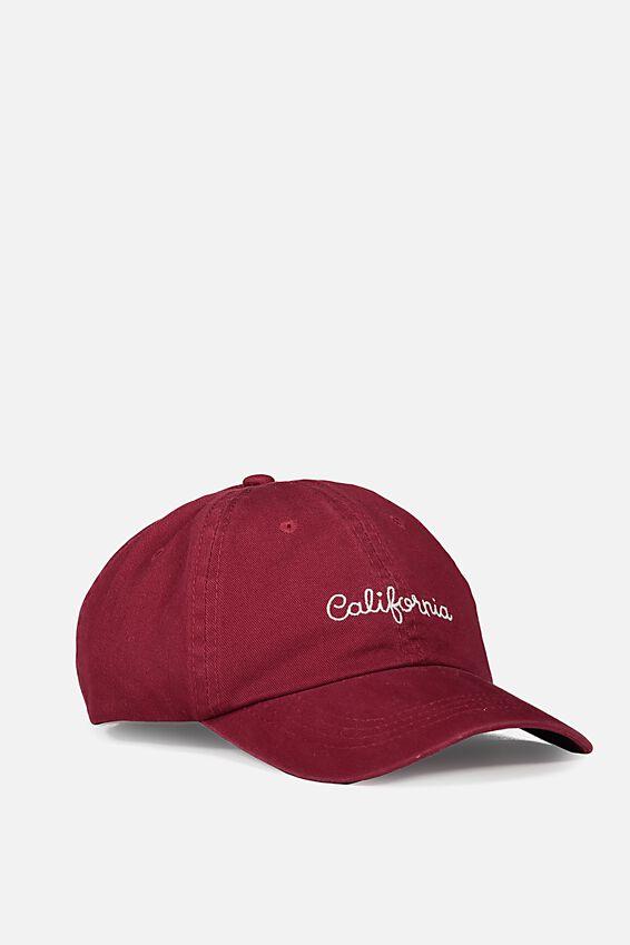 Strap Back Dad Hat, MAROON/CALIFORNIA SCRIPT