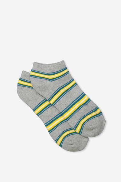 Mens Ankle Sock, GREY MARLE/TEAL/ORANGE STRIPE