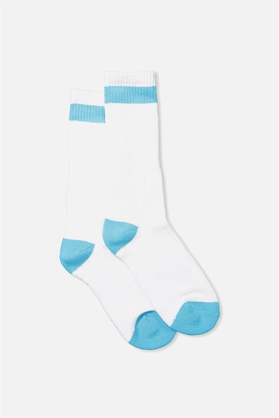 Single Pack Active Socks, WHITE VIBRANT BLUE BLOCK