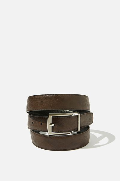 Twist Buckle Belt, BLACK/BROWN/BRUSHED SILVER