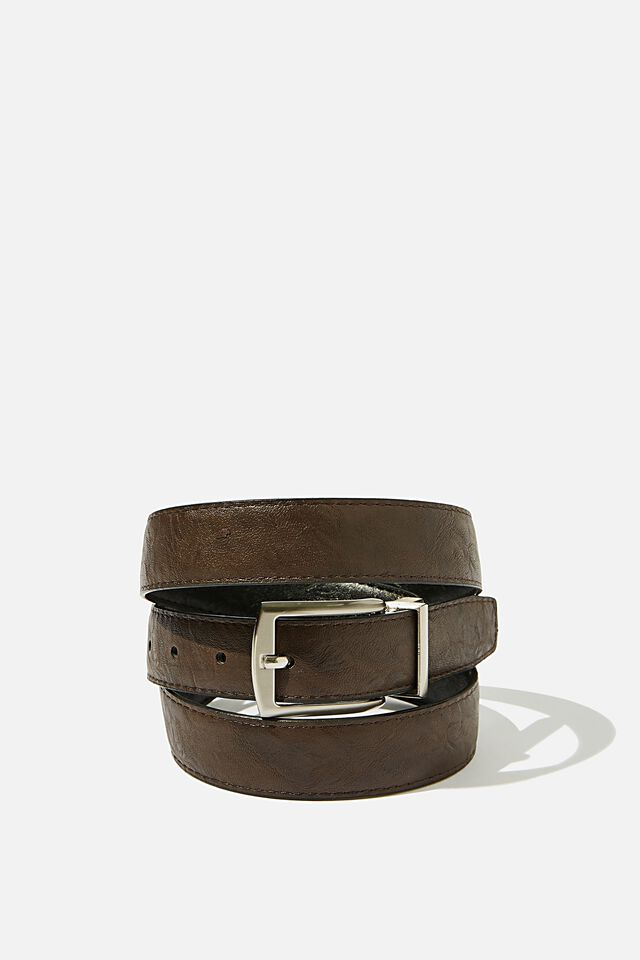 Twist Buckle Belt, BLACK/BROWN/BRUSHED SILVER