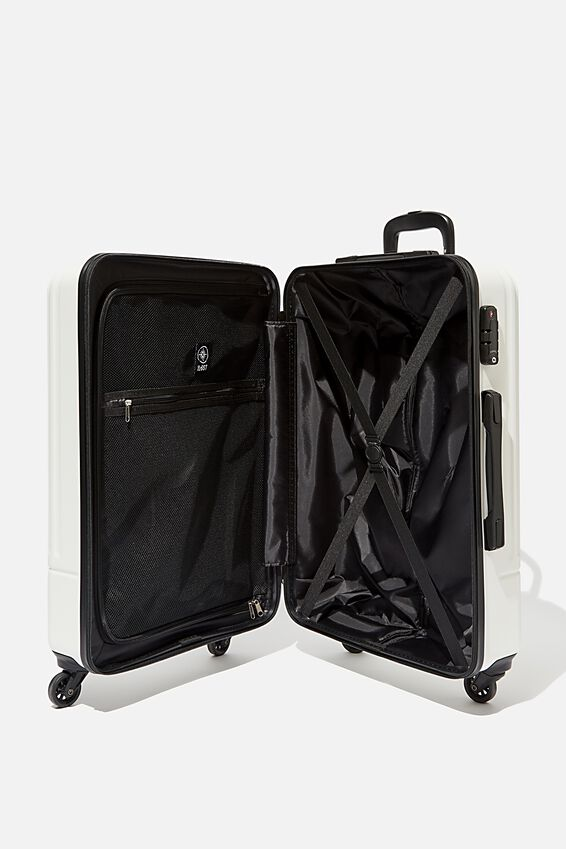 Med 24Inch Hard Suitcase, WHITE/BLACK