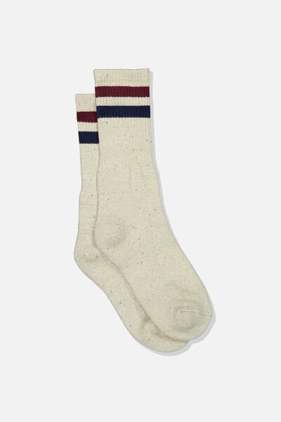 Single Pack Active Socks, SAND MELANGE SPORT STRIPE