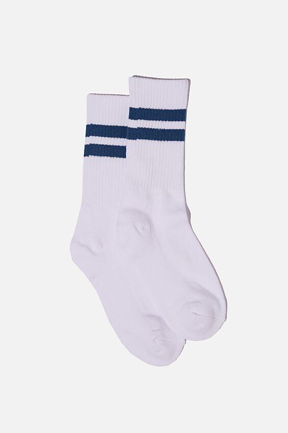 Single Pack Active Socks, WHITE/DEEP BLUE SPORT STRIPE