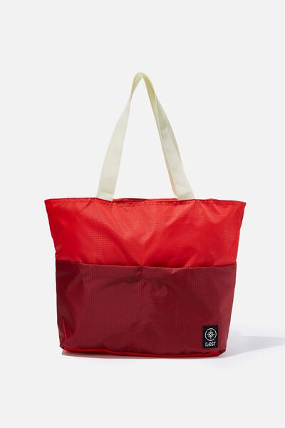 Packable Tote, TULIP RED/TRACK RED