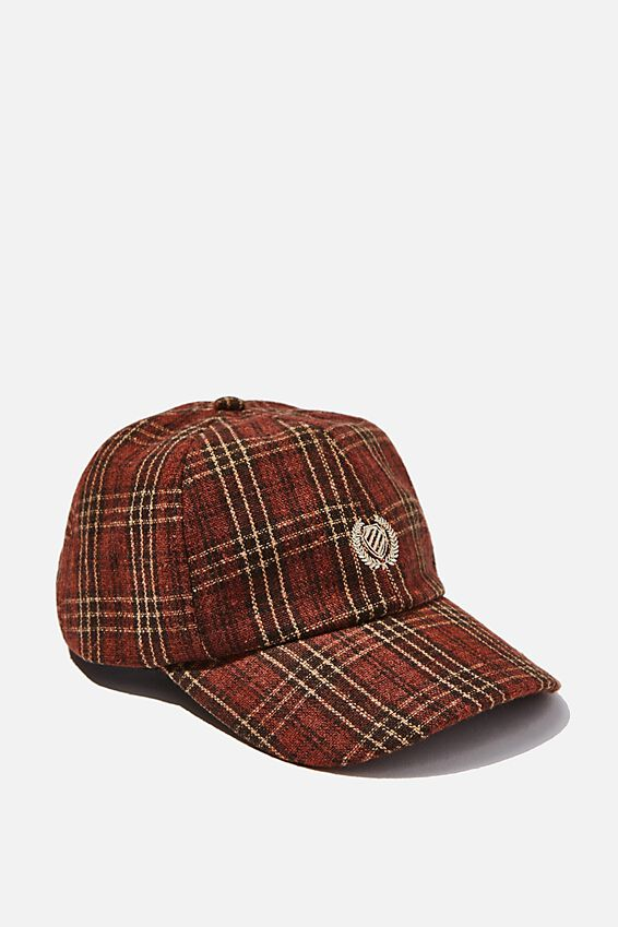 Strap Back Dad Hat, BROWN PLAID/CREST