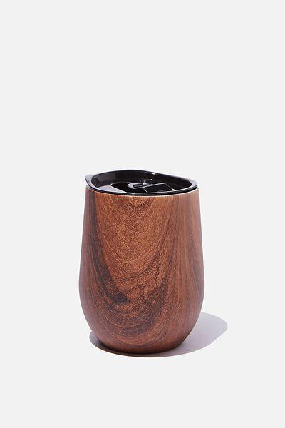 Medium Metal Tumbler, DARK WOOD GRAIN