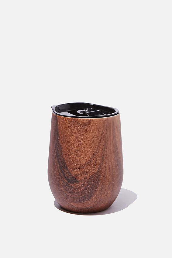 Medium Metal Tumbler, DARK WOODGRAIN