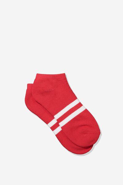 Mens Ankle Sock, RED/WHITE SPORT STRIPE