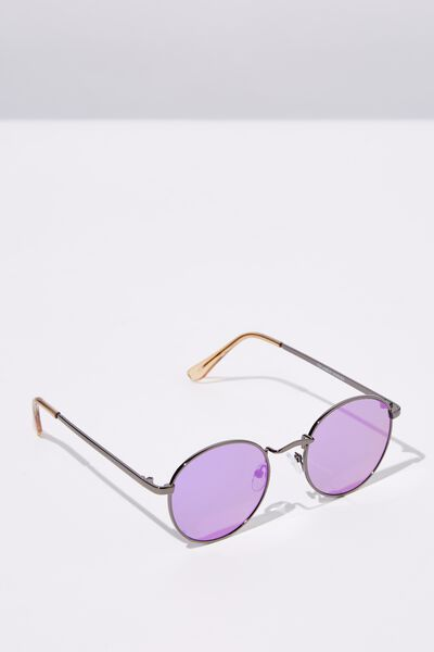 Columbus Sunglasses, GUN METAL/PURPLE SMK