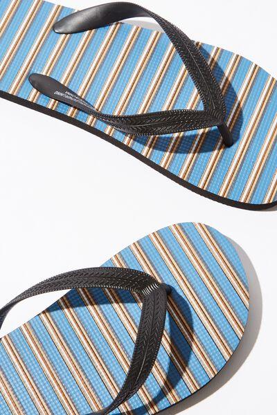 Bondi Flip Flop, STEEL BLUE/BLACK/BROWN STRIPE