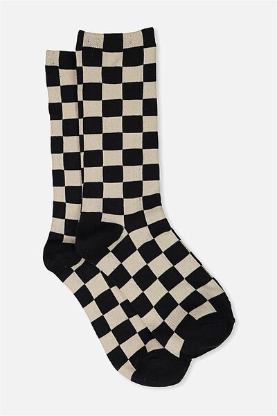 Single Pack Active Socks, BLACK/CHECKERED PAST
