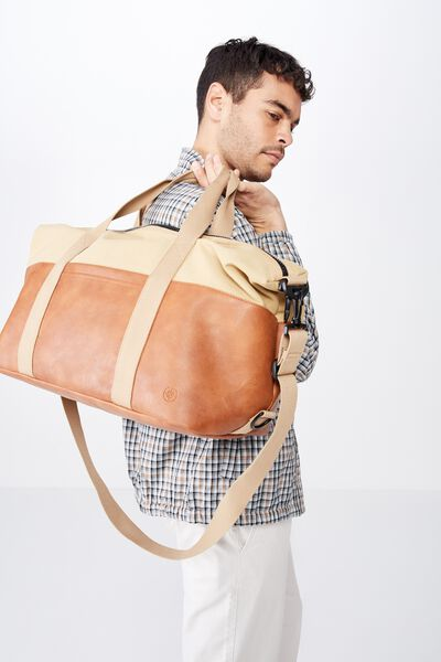 2 Tone Transit Duffle Bag, TAN