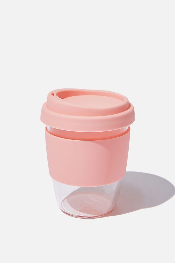 Reusable Glass Coffee Cup 380Ml, BLUSH