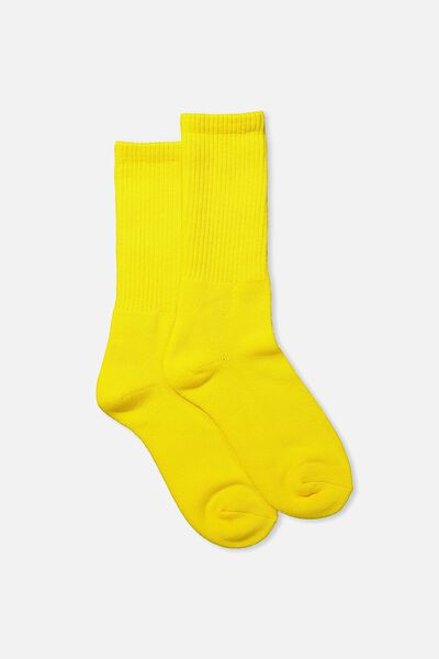 Single Pack Active Socks, VIBRANT YELLOW SOLID