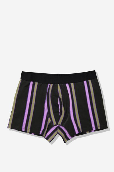 Single Hanging Trunks, BLACK/KHAKI/LAVENDER VERTICAL STRIPE