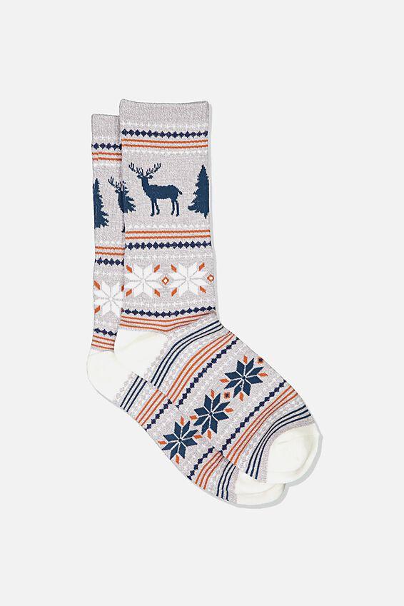 Single Pack Active Socks, GREY MARLE/SAND/TEAL/ALASKA