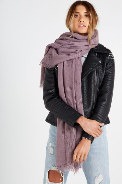 Tri Mid Weight Scarf, DULL GRAPE