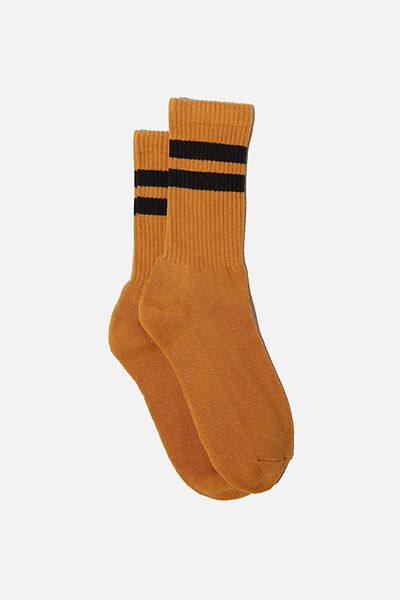 Single Pack Active Socks, MUSTARD/BLACK/SPORT STRIPE