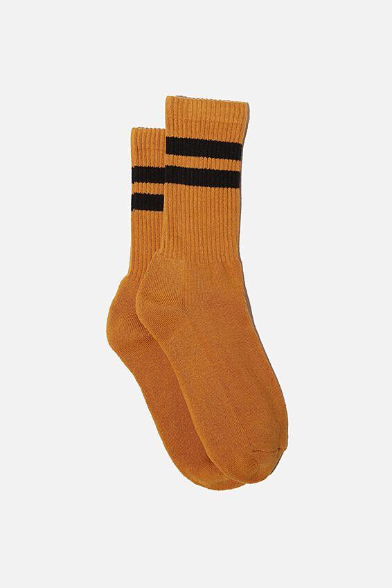 Single Pack Active Socks, MUSTARD/BLACK/SPORT STRIPE
