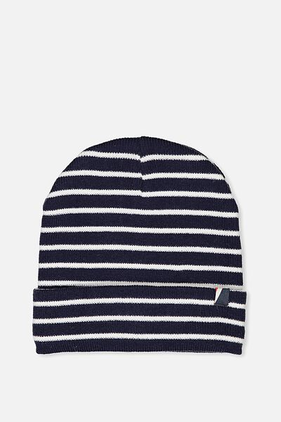 High Top Beanie, NAVY/WHITE STRIPE