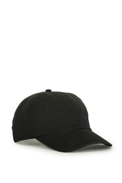 Strap Back Dad Hat, TAPED/WASHED BLACK