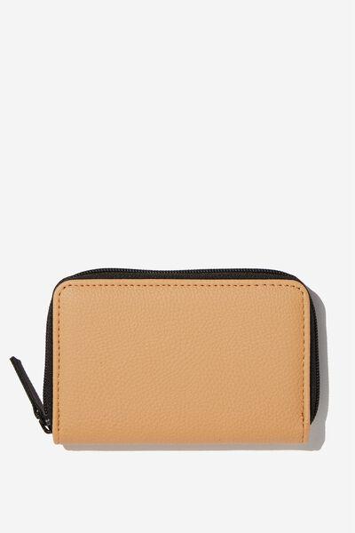 Small Zip Wallet, CAMEL PU