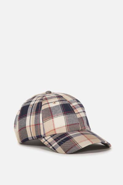 Strap Back Dad Hat, SAND/NAVY/RED PLAID