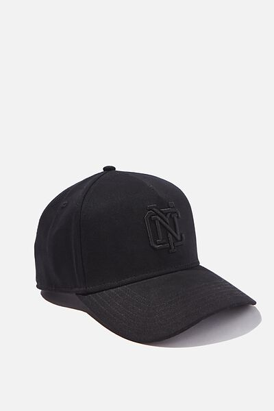 Curved Peak Snapback, BLACK/BLACK/NYC