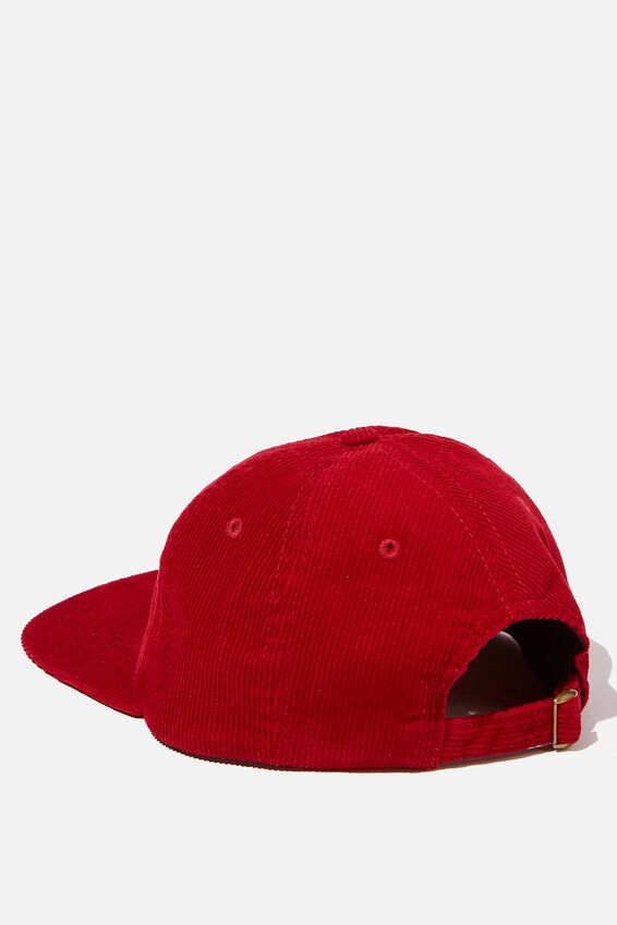 6 Panel Hat, DEEP RED CORDUROY/WHITE WEIRDLIFE