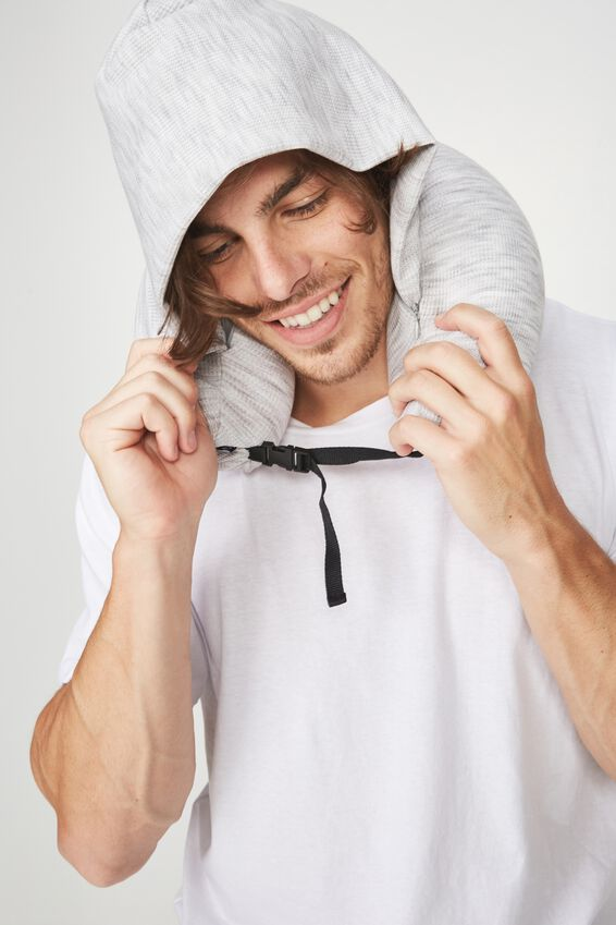 Neck Pillow With Hood, GREY WAFFLE