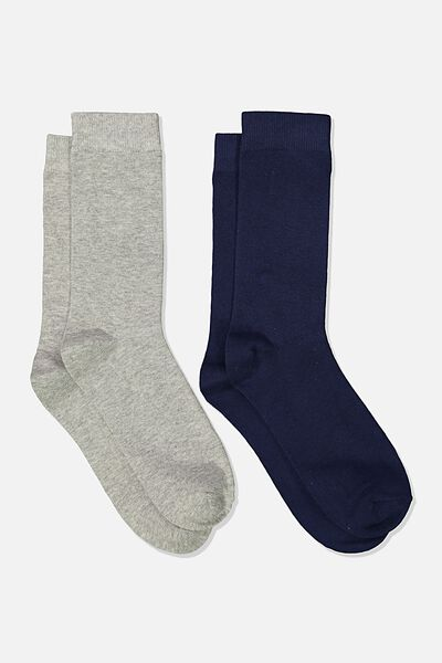 Dress Socks 2 Pack, NAVY/GREY MARLE