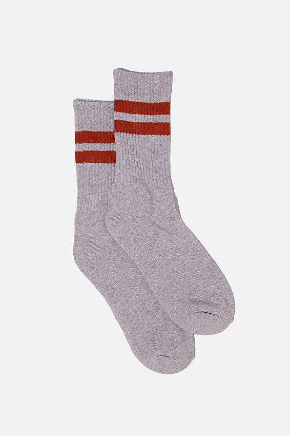 Single Pack Active Socks, GREY MARLE/BURNT RED SPORT STRIPE
