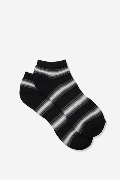 Mens Ankle Sock, BLACK/GREY WHITE STRIPE