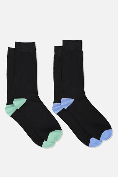 Dress Socks 2 Pack, BLACK/BLUE/BLACK/GREEN