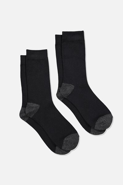 Dress Socks 2 Pack, BLACK/CHARCOAL