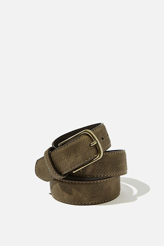 Faux Suede Belt, OLIVE/BRUSHED GOLD