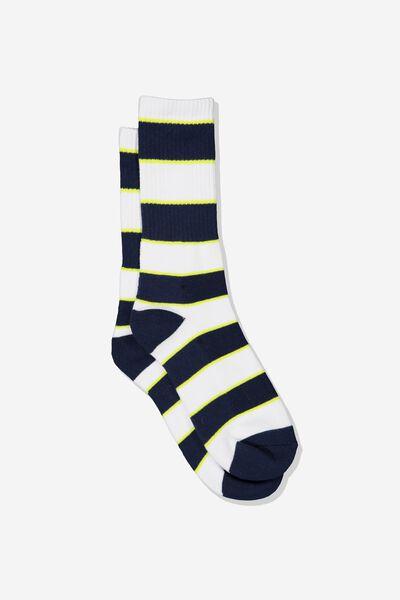 Single Pack Active Socks, NAVY/WHITE/NEON GREEN VERTICAL BLOCK STRIPE