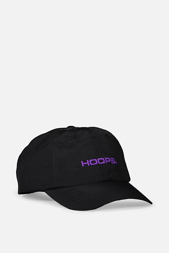 Strap Back Dad Hat, BLACK/PURPLE/HOOPS