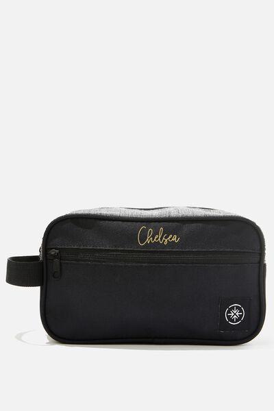 Personalised Transit Wash Bag, BLACK/GREY CROSSHATCH
