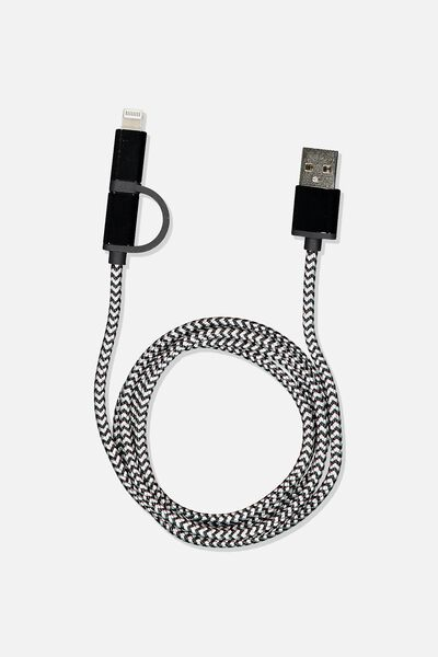 2 In 1 Charge/Sync Cable, GUNMETAL METALLIC/PRINCE CHECK
