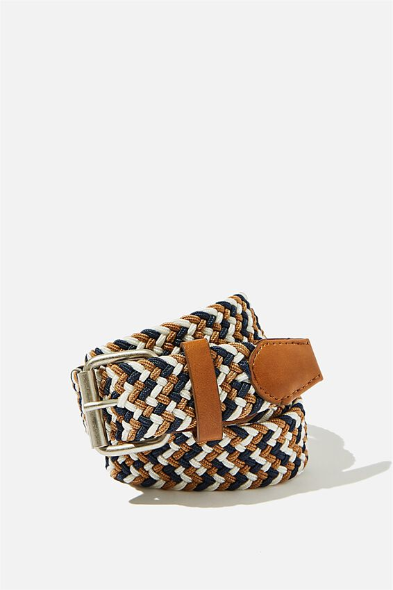 Hampton Plait Belt, BROWN/NAVY/OFF WHITE/BRUSHED SILVER